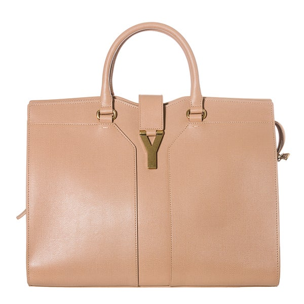 Yves Saint Laurent 'Cabas ChYc' Peach Textured Leather Tote Bag