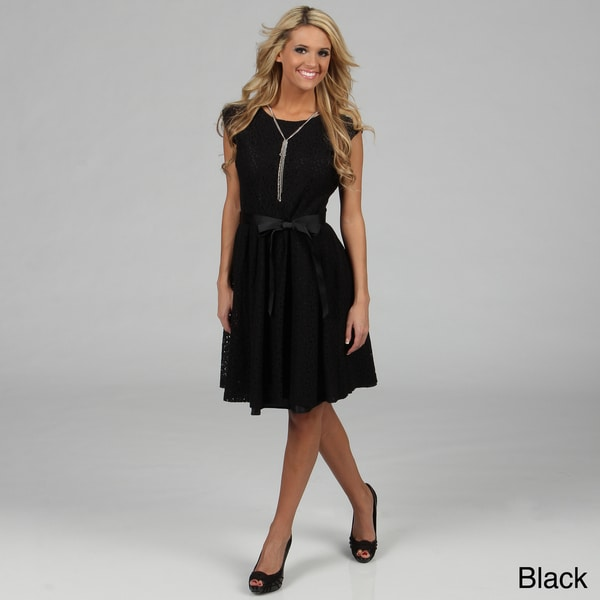 'Amelia' Belted Lace Dress