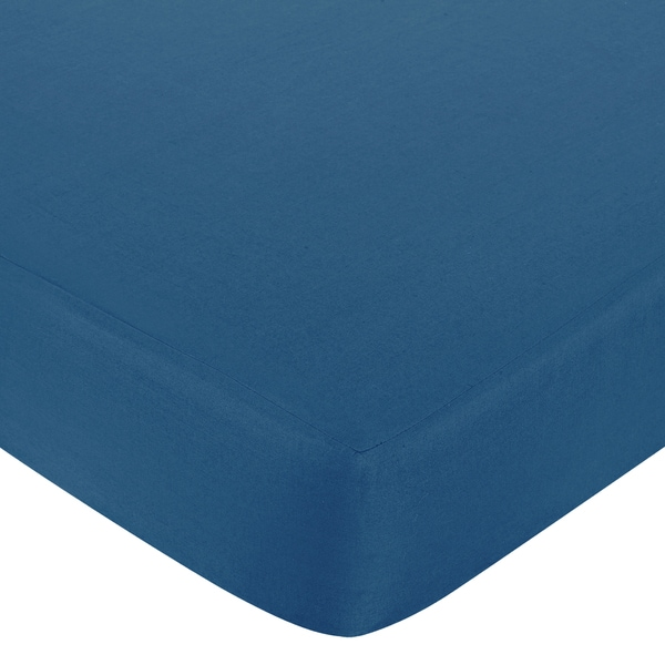 Sweet JoJo Designs Surf Solid Blue Fitted Crib Sheet