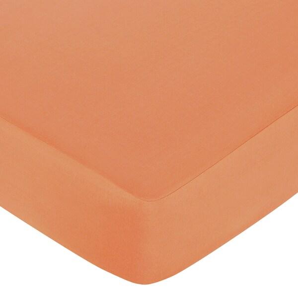 Sweet JoJo Designs Surf Solid Orange Fitted Crib Sheet