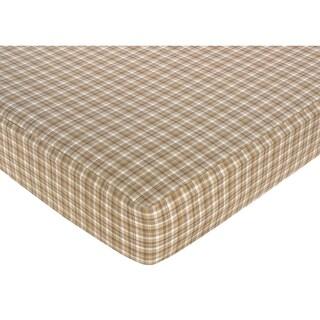 Sweet JoJo Designs Teddy Bear Plaid Fitted Crib Sheet