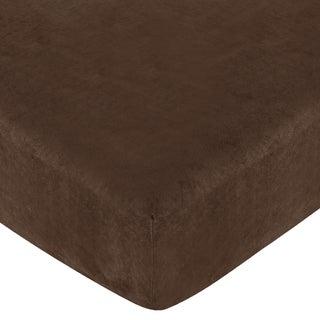 Sweet JoJo Designs Teddy Bear Solid Chocolate Fitted Crib Sheet