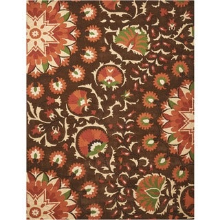Hand-tufted Suzani Brown Floral Bloom Rug (2'6 x 4')