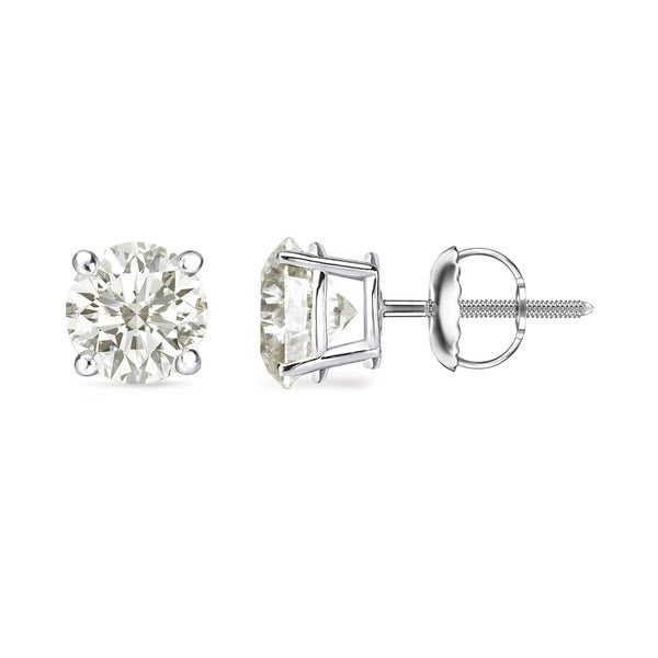 Auriya 14k Gold 1 Carat To 3ct Tdw Round Clarity Enhanced Diamond Stud Earrings