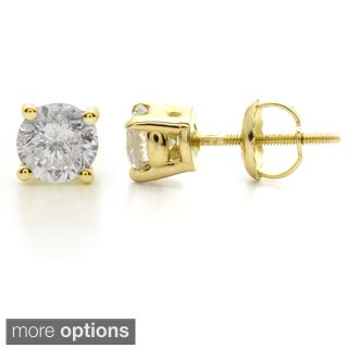 Auriya 14k Yellow Gold 1ct to 3ct TDW Clarity-Enhanced Diamond Solitaire Stud Earrings