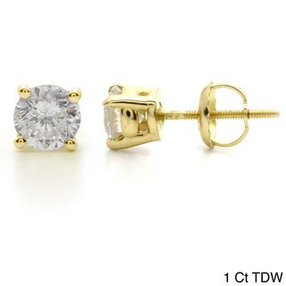 14k Yellow Gold 1ct to 3ct TW Clarity Enhanced Diamond Stud Earrings by Auriya