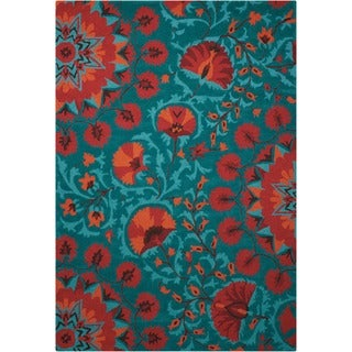 """Nourison Hand-tufted Suzani Teal Wool Floral Bloom Rug (3'9 x 5'9) - 3'9"""" x 5'9"""""""