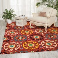 Han-tufted Suzani Red Medallion Rug (3'9x5'9)