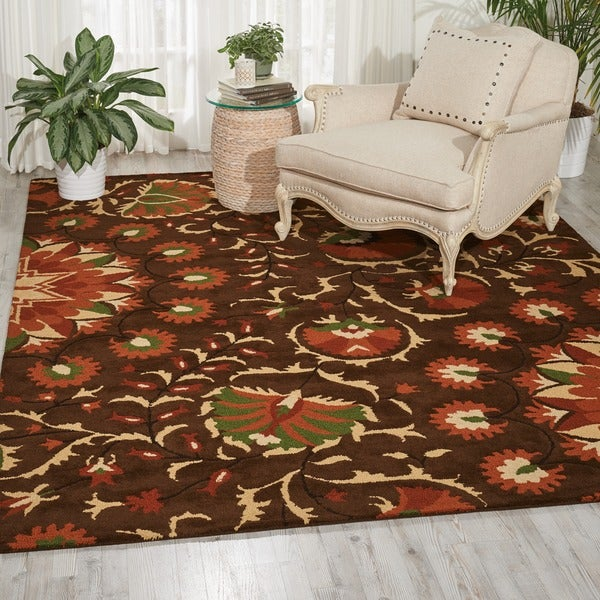 Hand-tufted Suzani Brown Floral Bloom Rug - 5'3 x 7'5