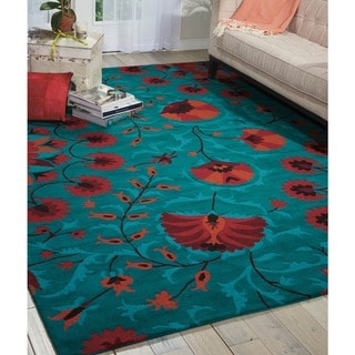 Hand-tufted Suzani Teal Floral Bloom Rug (5'3 x 7'5)