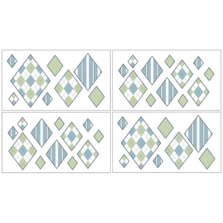Sweet JoJo Designs Blue and Green Argyle Wall Decal Sheets (Set of 4)