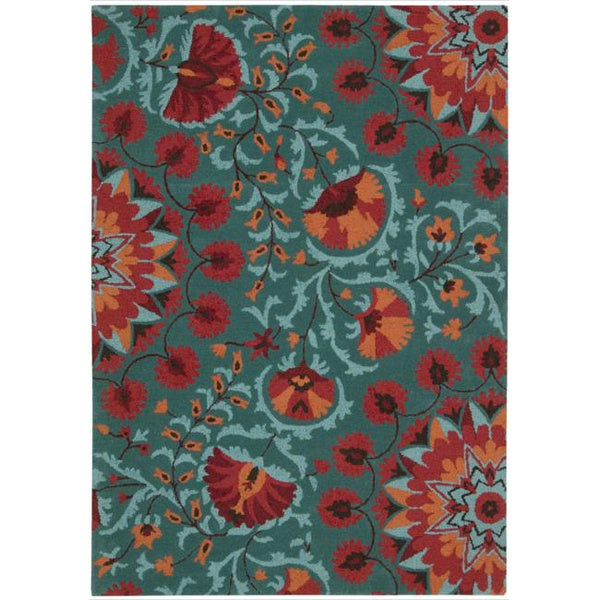 Shop Hand Tufted Suzani Teal Floral Bloom Rug 8 X 10 6