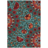 Hand-tufted Suzani Teal Floral Bloom Rug (8' x 10'6)