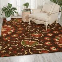 Hand-tufted Suzani Brown Floral Bloom Rug (8' x 10'6)