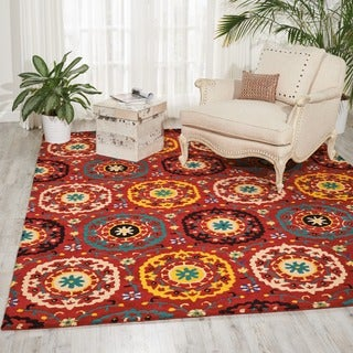 Hand-tufted Suzani Red Medallion Rug (8' x 10'6)