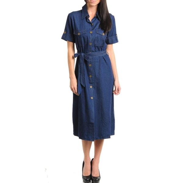 643cb7ff0ef87 Shop Stanzino Women's Button-down Knee-length Denim Dress - Free ...