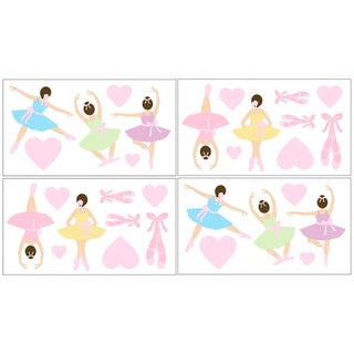 Sweet JoJo Designs Ballet Dancer Ballerina Wall Decal Stickers (Set of 4)