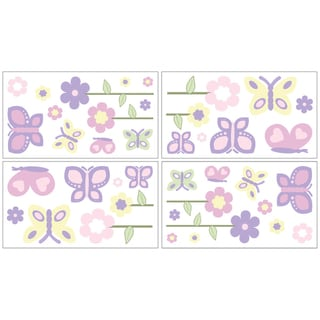 Sweet JoJo Designs Pink and Purple Butterfly Wall Decal Stickers (Set of 4)
