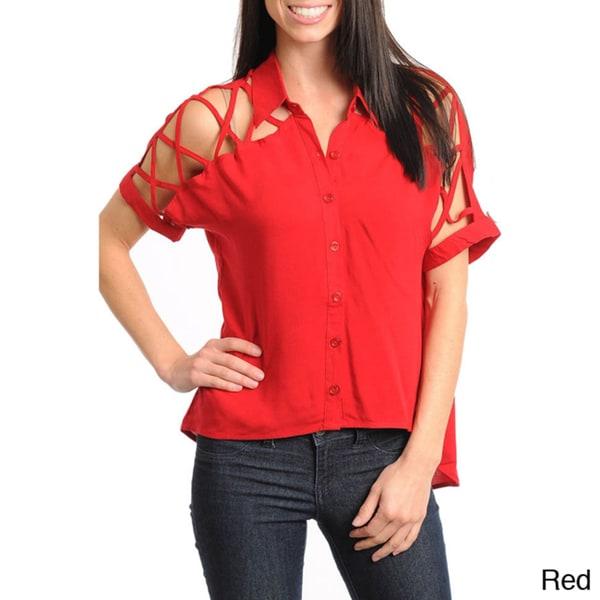 Stanzino Women's Button-down Cut-out shoulder Top