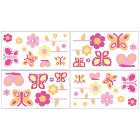 Sweet Jojo Designs Pink and Orange Butterfly Peel and Stick Wall Decal Stickers Art Nursery Decor (Set of 4)