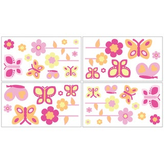 Sweet JoJo Designs Pink and Orange Butterfly Decal Stickers (Set of 4)