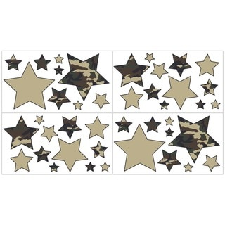 Sweet JoJo Designs Green Camo Wall Decal Stickers (Set of 4)
