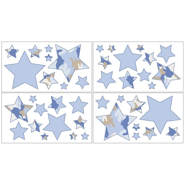 Sweet JoJo Designs Blue and Khaki Camo Wall Decal Stickers (Set of 4)