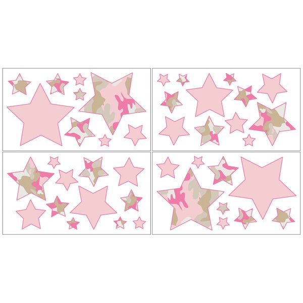 Sweet JoJo Designs Pink and Khaki Camo Wall Decal Stickers (Set of 4)