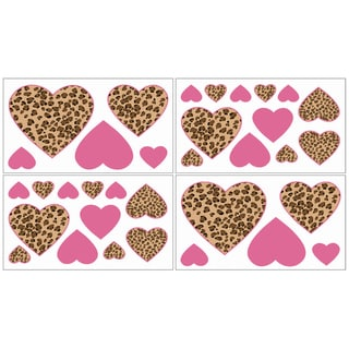 Sweet JoJo Designs Cheetah Pink and Brown Wall Decal Stickers (Set of 4)