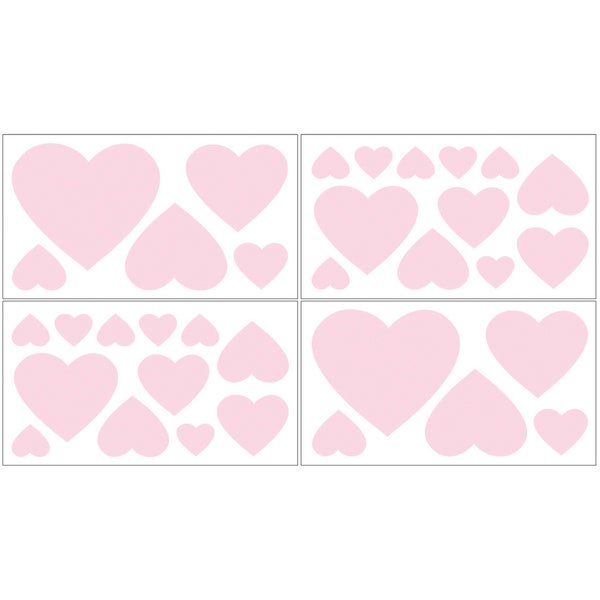 Sweet JoJo Designs Pink Hearts Wall Decal Stickers (Set of 4)