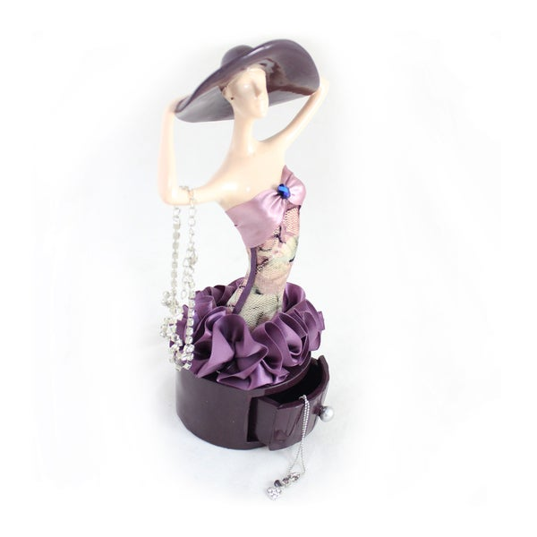 Jacki Design Blossom Bliss Purple Lady Jewelry Holder with Drawer