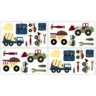 Sweet JoJo Designs Construction Zone Wall Decal Stickers (Set of 4)