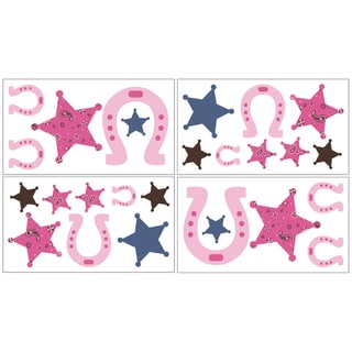Sweet JoJo Designs Western Cowgirl Wall Decal Stickers (Set of 4)