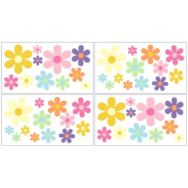 Sweet JoJo Designs Danielle's Daisies Wall Decal Stickers (Set of 4)