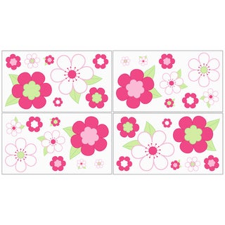 Sweet JoJo Designs Pink and Green Flower Wall Decal Stickers (Set of 4)