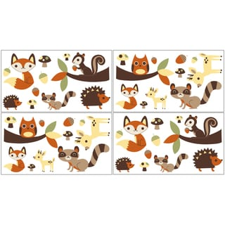 Sweet JoJo Designs Forest Friends Wall Decal Stickers (Set of 4)