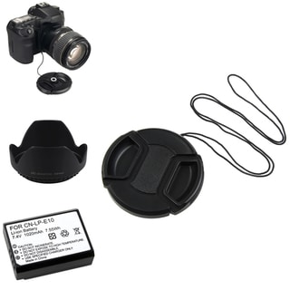 INSTEN Li-ion Battery/ Lens Cap and Hood Set for Canon EOS 7D