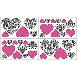 Sweet JoJo Designs Pink, Black and White Isabella Wall Decals (Set of 4)