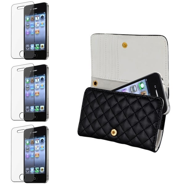 INSTEN Leather Wallet Phone Case Cover/ Screen Protector for Apple iPhone 4/ 4S