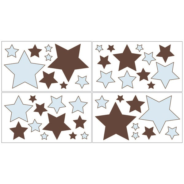 Sweet JoJo Designs Blue and Brown Hotel Wall Decals (Set of 4)