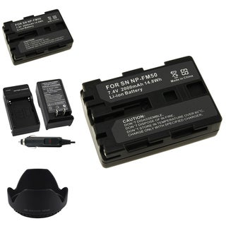 INSTEN Battery Charger/ Li-ion Battery/ Lens Hood for Sony NP-FM50