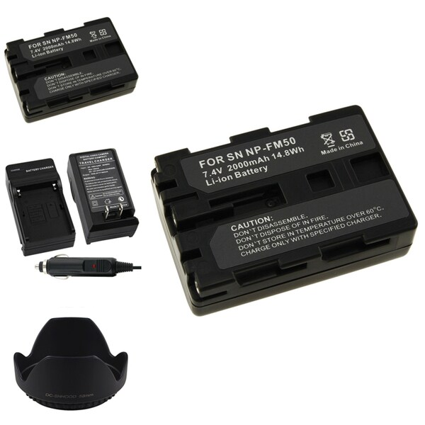 INSTEN Battery Charger/ Li-ion Battery/ Lens Hood for Sony NP-FM50