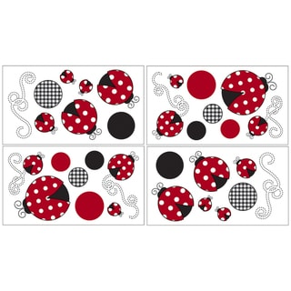 Sweet JoJo Designs Ladybug Wall Decal Stickers (Set of 4)