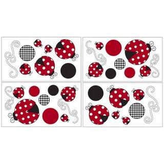 Sweet JoJo Designs Ladybug Wall Decal Stickers (Set of 4)