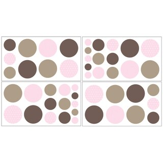 Sweet JoJo Designs Pink and Brown Mod Dots Wall Decal Stickers (Set of 4)