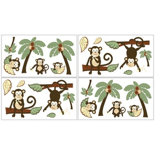 Sweet JoJo Designs Monkey Wall Decals (Set of 4)