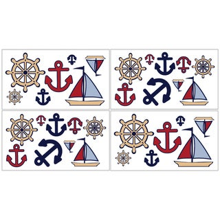 Sweet JoJo Designs Nautical Nights Wall Decal Stickers (Set of 4)
