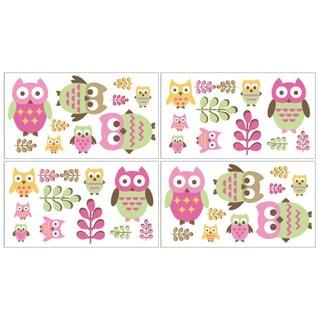 Sweet JoJo Designs Pink Happy Owl Wall Decal Stickers (Set of 4)