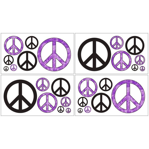 Sweet JoJo Designs Purple Groovy Peace Sign Wall Decal Stickers (Set of 4)