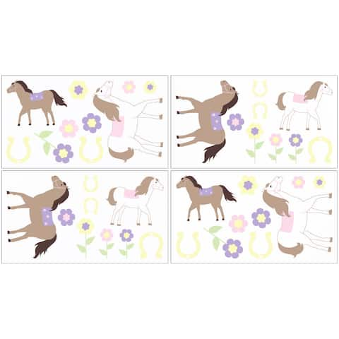 Sweet Jojo Designs Pretty Pony Horse Peel and Stick Wall Decal Stickers Art Nursery Decor (Set of 4)